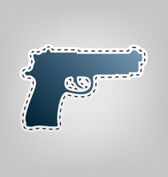 gun sign   blue icon with vector image