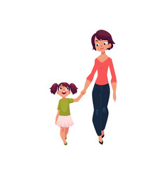 Mother and daughter walking together holding hands vector