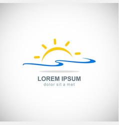 sun rise beach logo vector image