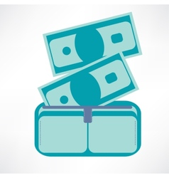 Full wallet flat icon isolated on a blue vector