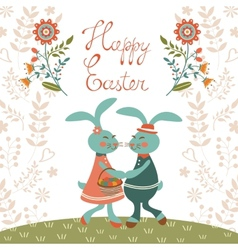 Easter card with cute rabbits vector