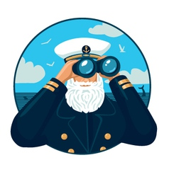 Captain with binoculars vector