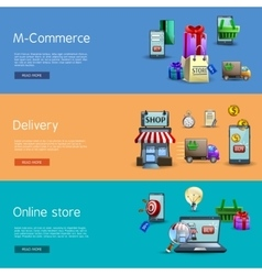 Online shopping banners set vector