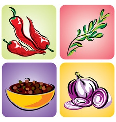 Set color spices vector