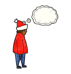 Cartoon person in winter clothes with thought vector