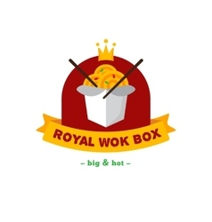 Bright wok box chineese cafe logo brand vector