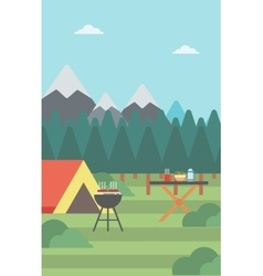 Background of camping site vector