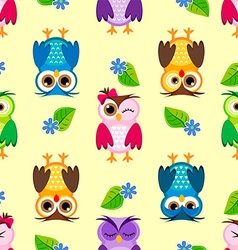 Seamless little owls background vector