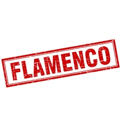 Flamenco red square grunge stamp on white vector