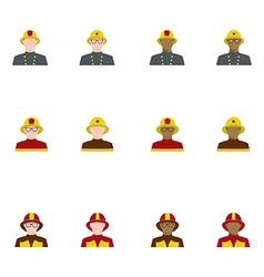Set of firefighters in flat style different races vector
