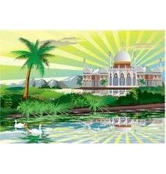 Arabic palace on the shore of a beautiful lake vector