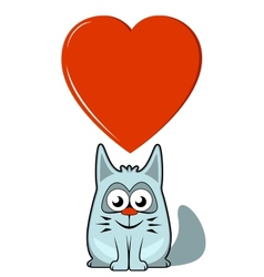 Cartoon cat with big heart vector