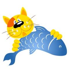 Cat caught a fish vector