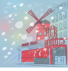 Christmas moulin rouge in paris vector