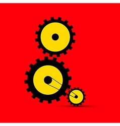 Cogs - Gears on Red Background vector image vector image
