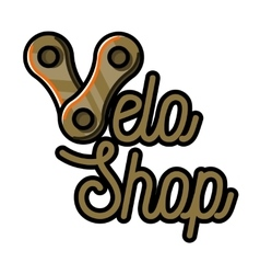 Color vintage bike shop emblem vector