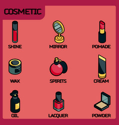 cosmetic color outline isometric icons vector image vector image