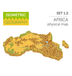 flat 3d isometric africa map constructor elements vector image