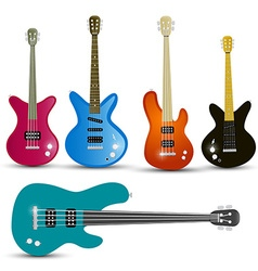 Guitars and Bass Guitars Set Isolated on White vector image vector image