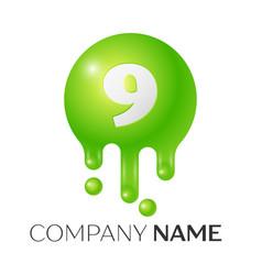 Number nine splash logo vector