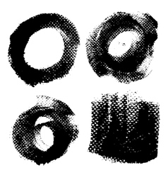 Round textured prints with paint on paper set 2 vector image