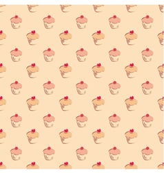 Seamless pattern or texture with sweet cupcakes vector