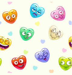 seamless pattern with funny hearts vector image vector image