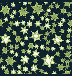 Seamless stars pattern deep green print vector