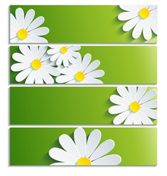Set of banners with 3d flower chamomile vector image