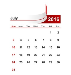 Simple calendar 2016 year july month vector