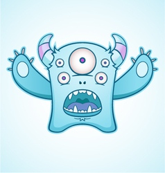 surprised blue monster vector image
