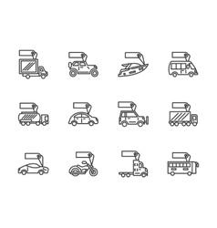 Vehicles sale black line icons set vector image vector image