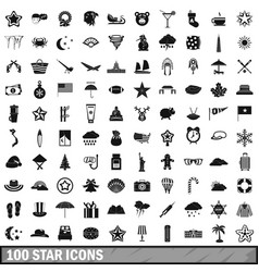 100 star icons set simple style vector