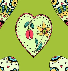 Bright green floral love heart patterned vector