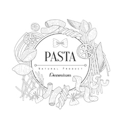 Pasta assortment logo hand drawn realistic sketch vector