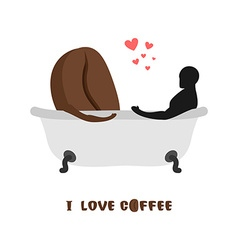 Coffee lovers coffee beans and person in bath vector