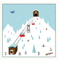 Cool pastel cartoon ski poster the mountain vector
