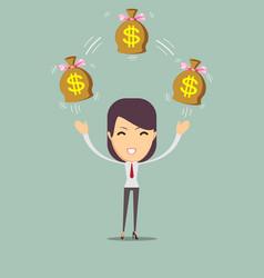Cartoon businesswoman holding money bag vector