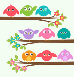 Set of cute birds with different emotions on vector