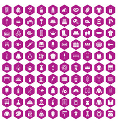 100 needlework icons hexagon violet vector