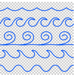 Seamless blue wave line pattern vector