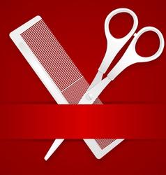 Scissors and comb - advertising barbershop vector image