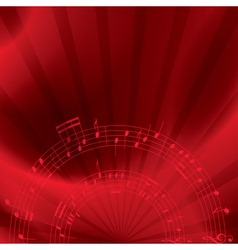 Music background with notes - red vector