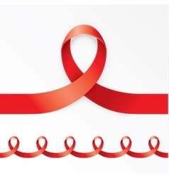Photorealistic red ribbon in the shape of nines on vector
