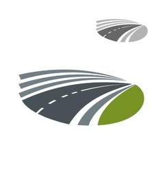 Highway road pass among green rural fields vector