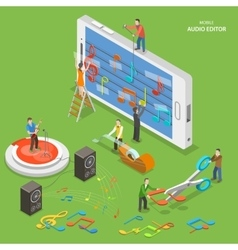 Mobile audio editor flat isometric concept vector