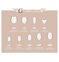 Cocktail and wine glasses diagram vector