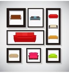 Abstract gallery background with sofa icon set vector
