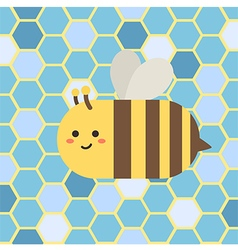 Bee in blue beehive vector