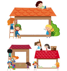 Border templates with kids and house vector